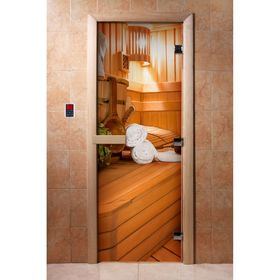 Дверь с фотопечатью, стекло 8 мм, размер коробки 190 × 70 см, правая, цвет А032