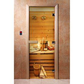 Дверь с фотопечатью, стекло 8 мм, размер коробки 190 × 70 см, правая, цвет А033
