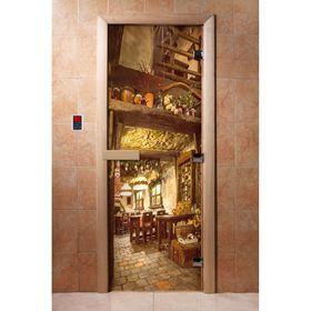 Дверь с фотопечатью, стекло 8 мм, размер коробки 190 × 70 см, правая, цвет А035