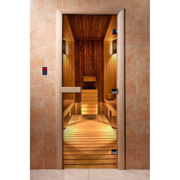 Дверь для бани и сауны А036 190х70см, с фотопечатью, 8мм , коробка