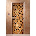 Дверь для бани и сауны А043 190х70см, с фотопечатью, 8мм , коробка