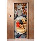 Дверь для бани и сауны А059 190х70см, с фотопечатью, 8мм , коробка