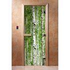 Дверь для бани и сауны А084 190х70см, с фотопечатью, 8мм , коробка