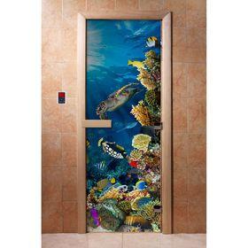 Дверь с фотопечатью, стекло 8 мм, размер коробки 190 × 70 см, правая, цвет А087