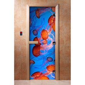 Дверь с фотопечатью, стекло 8 мм, размер коробки 190 × 70 см, правая, цвет А088