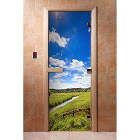 Дверь с фотопечатью, стекло 8 мм, размер коробки 190 × 70 см, правая, цвет А092