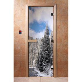 Дверь с фотопечатью, стекло 8 мм, размер коробки 190 × 70 см, правая, цвет А095