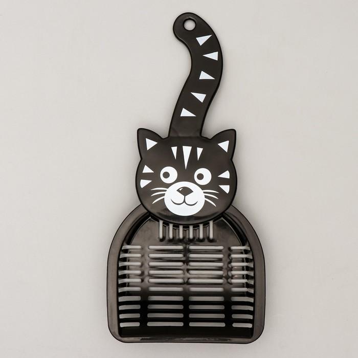 """Совок для туалета """"Довольный кот"""", 28 х 12,5 см, микс цветов- быстрая доставка"""