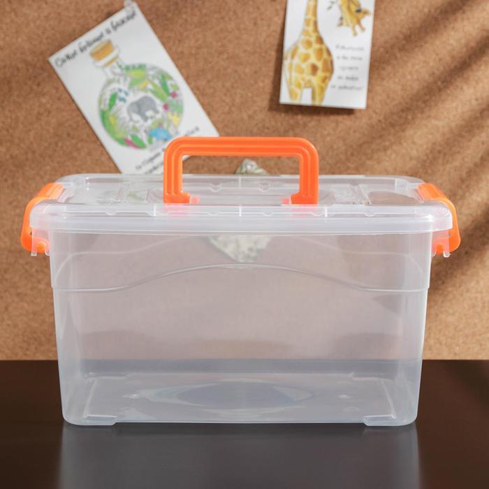 Контейнер для хранения с крышкой и ручкой на защёлке «Дипломат», цвет МИКС - фото 308333202