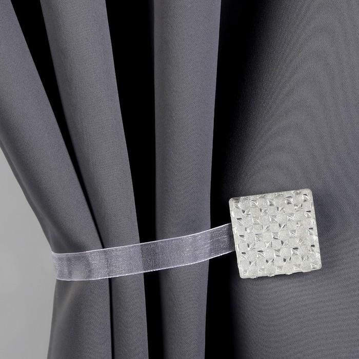 Подхват для штор «Кристалл», 4 × 4 см, цвет серебряный