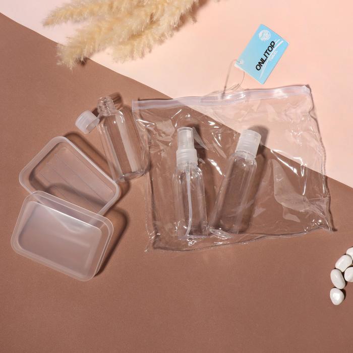 Набор для хранения: бутылочка-60мл, 2 бутылочки-50мл, мыльница, цвет прозрачный