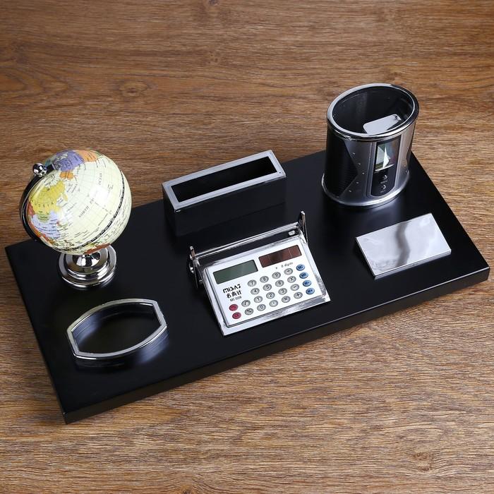 Набор настольный: глобус, калькулятор, подставка для ручек, лоток для скрепок, визитница - фото 450072970