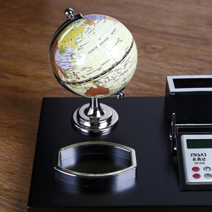 Набор настольный: глобус, калькулятор, подставка для ручек, лоток для скрепок, визитница - фото 450072971