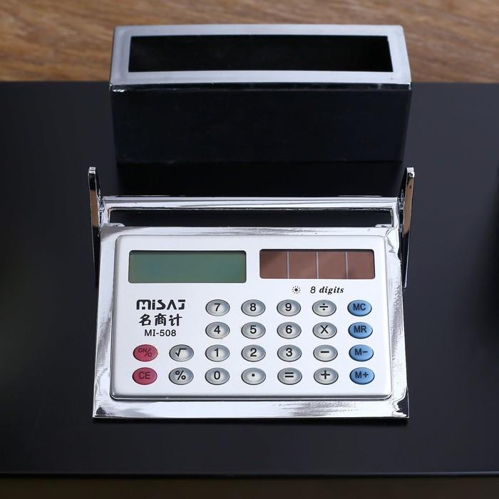 Набор настольный: глобус, калькулятор, подставка для ручек, лоток для скрепок, визитница - фото 450072972