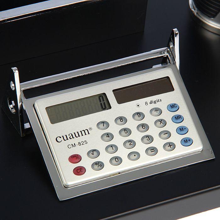 Набор настольный: глобус, калькулятор, подставка для ручек, лоток для скрепок, визитница - фото 450072974
