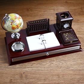 Набор настольный 8в1 (блок д/бум,часы,подстав,визит-ца,календ,лоток д/скреп,глобус,ящик,микс