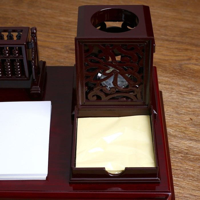 Набор настольный «Античность»: глобус, часы, перекидные листы, визитница, подставка для ручек, лоток для скрепок