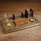 Набор настольный «Золото»: часы, визитница, блок для бумаги, подставка для ручек, лоток для скрепок