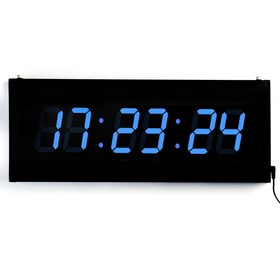 Electronic wall clock, numbers, blue 19x48 cm
