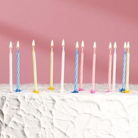 Свеча для торта «Яркая полоска» (набор 24 шт и 12 подставок) Ош