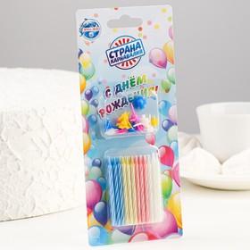 Свеча для торта «Яркая полоска» (набор 24 шт и 12 подставок)