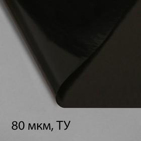 Плёнка полиэтиленовая, техническая, толщина 80 мкм, 3 × 10 м, рукав (1,5 м × 2), чёрная, 2 сорт, Эконом 50 %