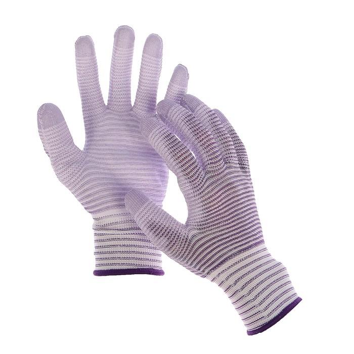 Перчатки нейлоновые, с латексной пропиткой, размер 10, цвет МИКС, «Полоса»
