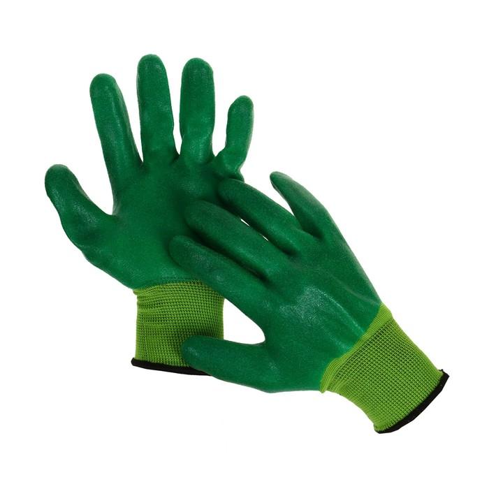 Перчатки нейлоновые, с двойным антивыскальзывающим нитриловым обливом, размер 10, цвет МИКС