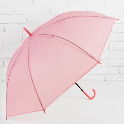 """Зонт-трость """"Однотонный"""", полуавтоматический, R=46см, цвет розовый/прозрачный"""