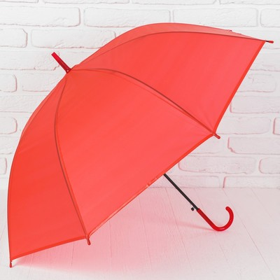Зонт-трость, полуавтоматический, R=46см, цвет красный