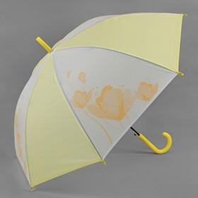 Зонт - трость полуавтоматический «Цветы», 8 спиц, R = 55 см, цвет жёлтый Ош