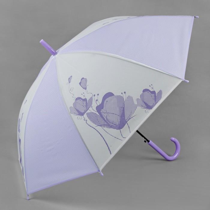 Зонт полуавтоматический «Цветы», 8 спиц, R = 55 см, цвет сиреневый