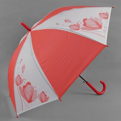 """Зонт-трость """"Цветы"""", полуавтоматический, R=55см, цвет красный"""