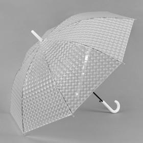 Зонт-трость 3D, полуавтоматический, R=55см, цвет белый Ош