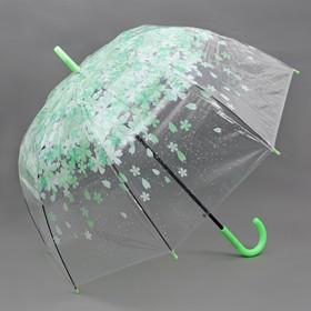 """Зонт-трость """"Цветы"""", полуавтоматический, R=40см, цвет зелёный"""