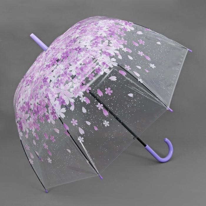 Зонт полуавтоматический «Цветы», 8 спиц, R = 40 см, цвет сиреневый