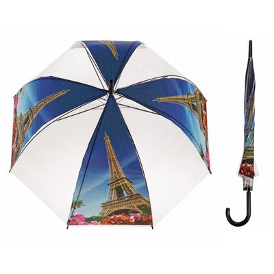 """Зонт-трость """"Эйфелева башня"""", полуавтоматический, R=41см, цвет синий"""