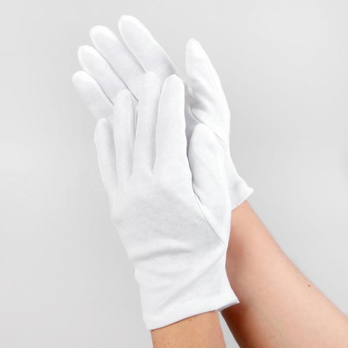 Перчатки хлопковые, размер M, пара, цвет белый