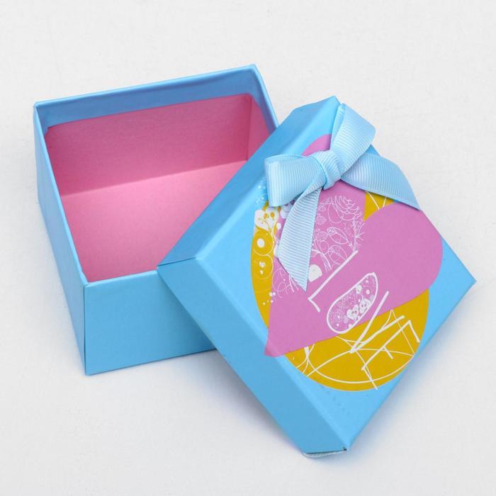 """Набор коробок 3 в 1 """"Сердце"""", голубой, 11 х 11 х 7 - 7 х 7 х 5 см"""