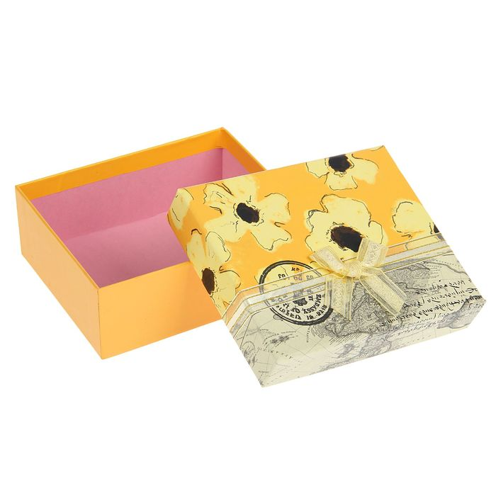 "Коробка подарочная ""Лето"", желтый, 14 х 12 х 5,5 см"
