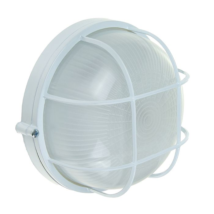 Светильник TDM НПБ1302, Е27, 60 Вт, IP54, круглый, с решеткой, белый