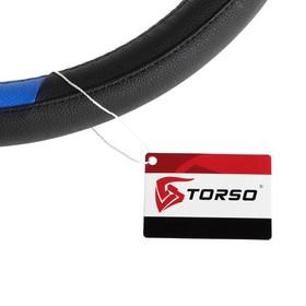 Оплетка TORSO, кожа PU, размер 38 см, черный с синими вставками, перфорация