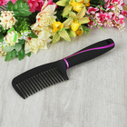 Расчёска с прорезиненной ручкой, цвет чёрный/розовый