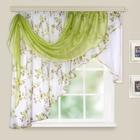 Комплект штор для кухни Мелодия 280х160см, цв.зеленый, левый, вуаль принт МИКС, пэ100%