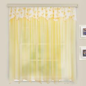 Комплект штор для кухни Нежность 285х160см,  цв.золотой, вуаль принт МИКС, пэ100%