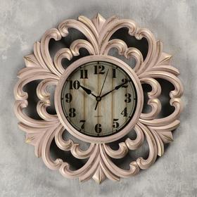 """Часы настенные, серия: Интерьер, """"Мини букеты"""", розовые с позолотой, d=39 см"""