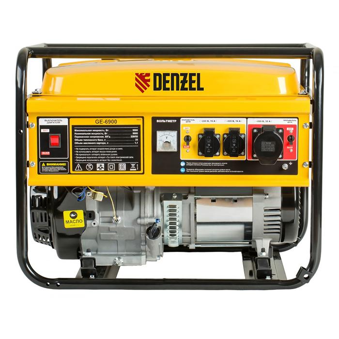 Генератор DENZEL GE 6900, бензиновый, 5/5.5 кВт, 220В/50Гц, 25 л, ручной старт