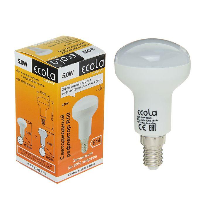 Лампа светодиодная Ecola Light, R50, 5 Вт, E14, 4200 K, 85x50 мм, дневной белый