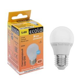 Лампа светодиодная Ecola globe G45, 5.4 Вт, E27, 2700 K, 82x45 мм