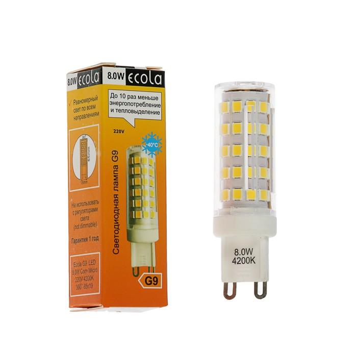 Лампа светодиодная Ecola LED Premium, 8 Вт, G9, 4200 K, 360°, 65x19 мм